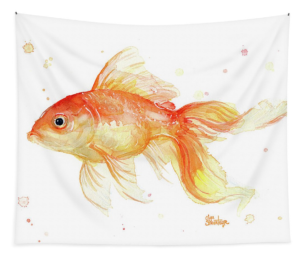 Gold Tapestry featuring the painting Goldfish Painting Watercolor by Olga Shvartsur