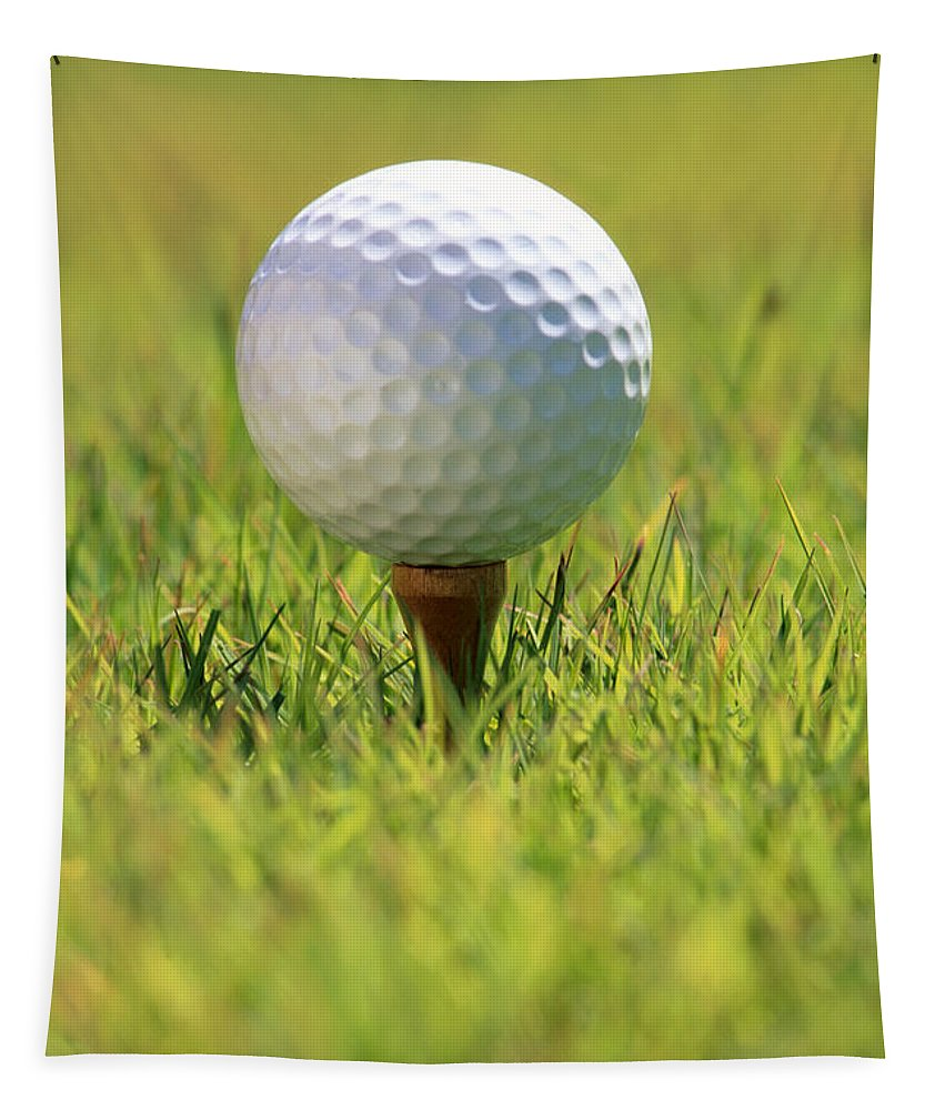 Afternoon Tapestry featuring the photograph Golf Ball On Tee by Carl Shaneff - Printscapes