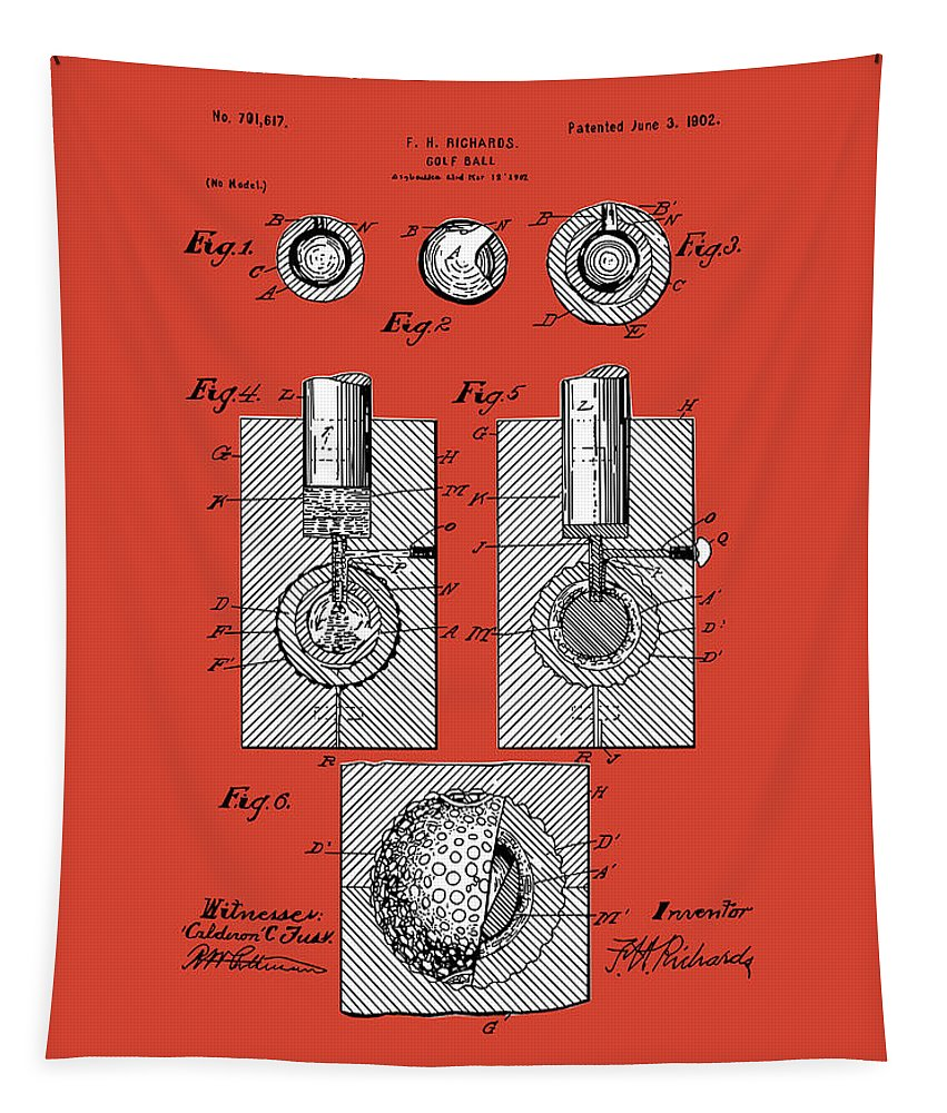 Golf Tapestry featuring the digital art Golf Ball Patent Drawing Red by Bekim Art