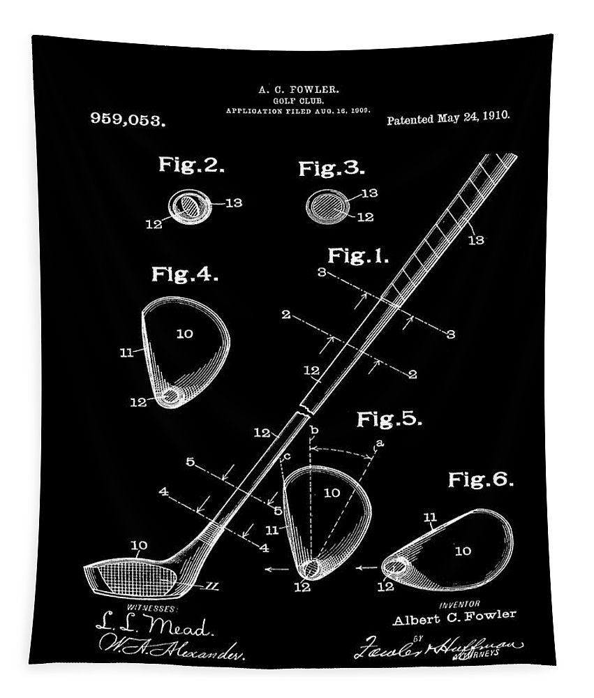 Golf Tapestry featuring the photograph Golf Club Patent 1910 Black by Bill Cannon