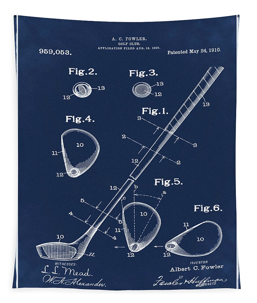 Golf Tapestry featuring the photograph Golf Club Patent 1910 Blue by Bill Cannon