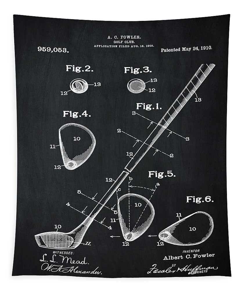 Golf Tapestry featuring the photograph Golf Club Patent 1910 Chalk by Bill Cannon
