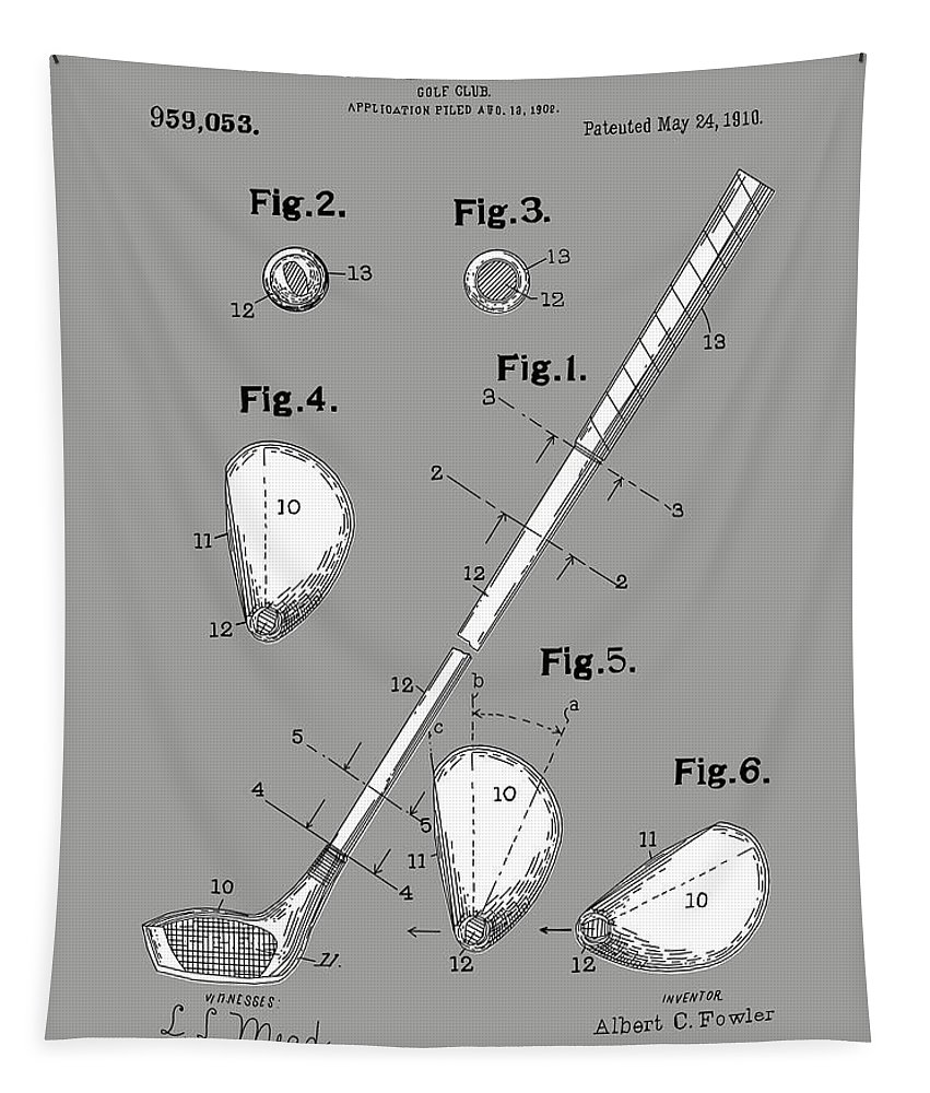 Golf Tapestry featuring the digital art Golf Club Patent Drawing Grey by Bekim M