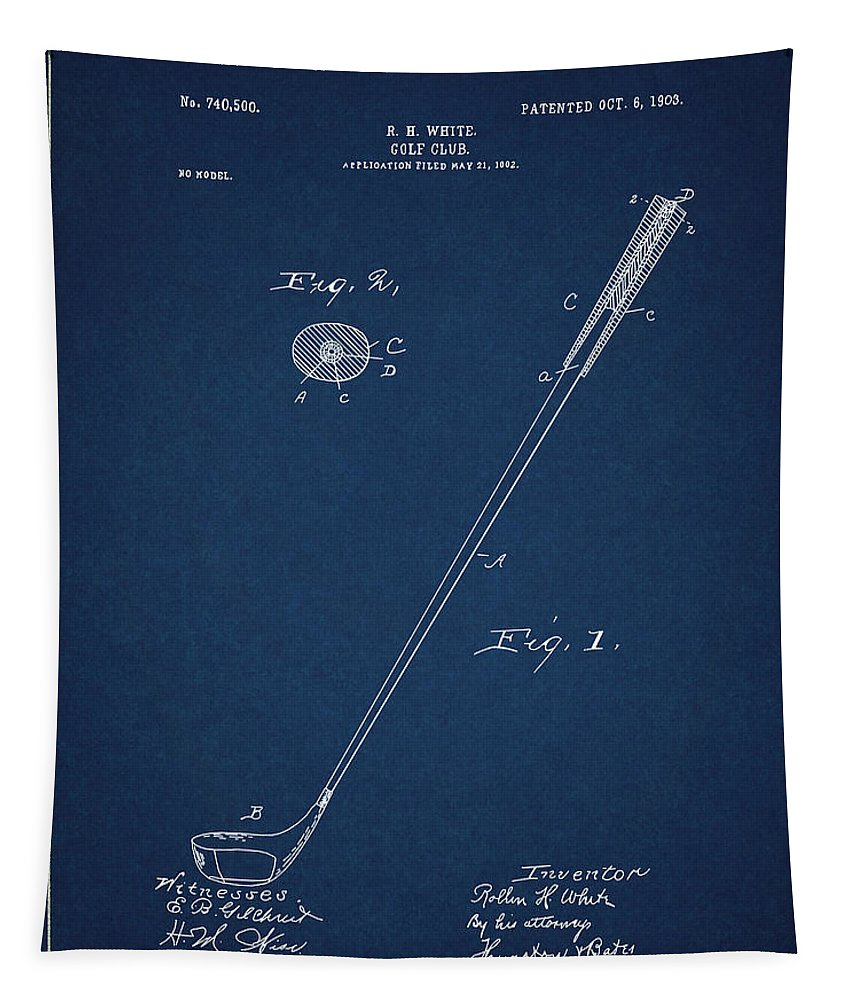 Golf Tapestry featuring the digital art Golf Club Patent Drawing Navy Blue 3 by Bekim M