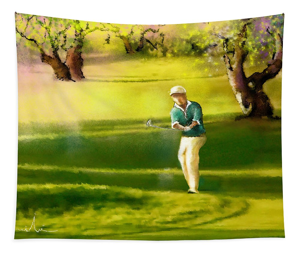 Sports Tapestry featuring the painting Golf In Spain Castello Masters 02 by Miki De Goodaboom