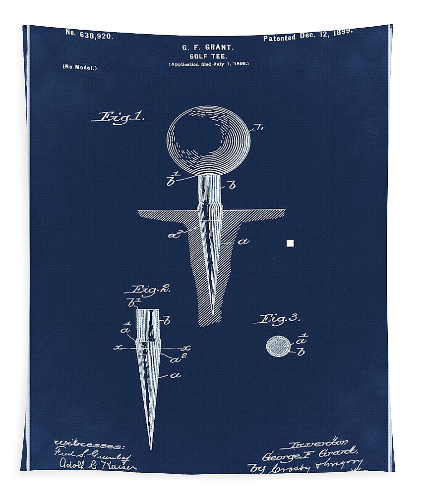 Golf Tapestry featuring the photograph Golf Tee Patent 1899 Blue by Bill Cannon