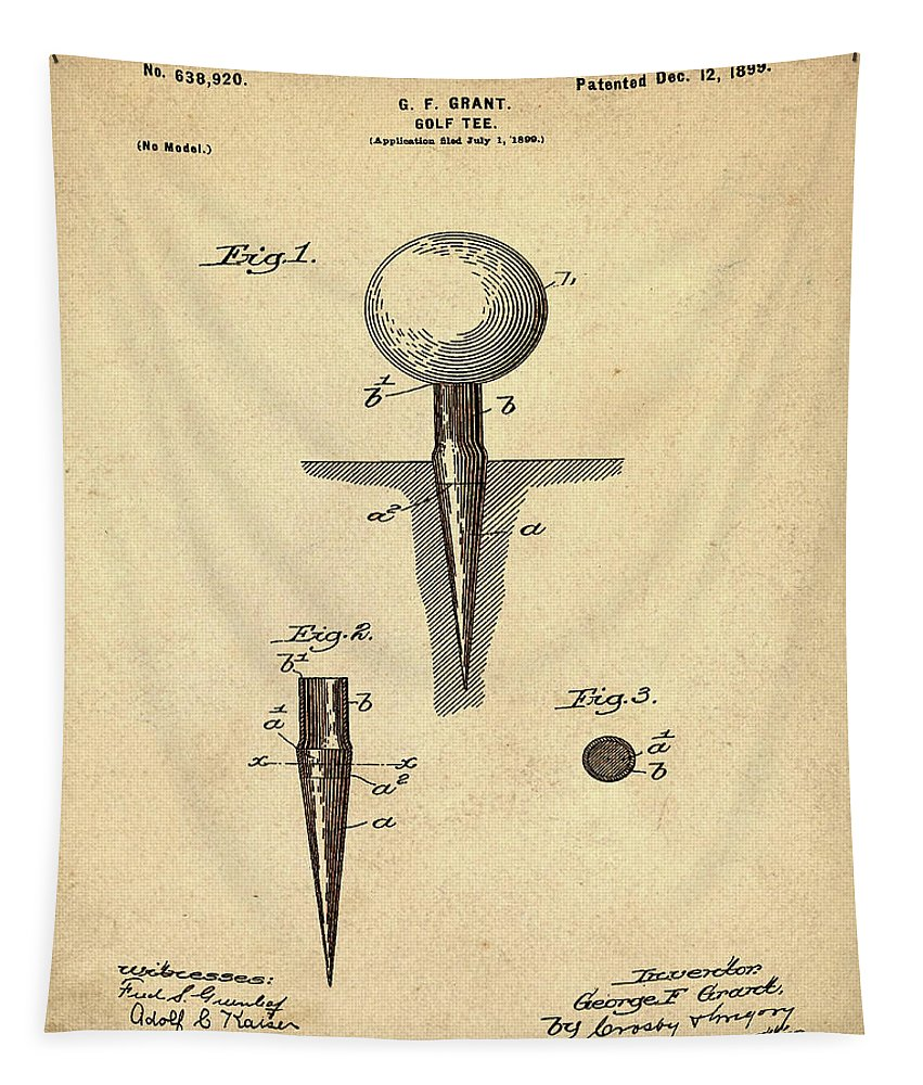 Golf Tapestry featuring the photograph Golf Tee Patent 1899 Sepia by Bill Cannon