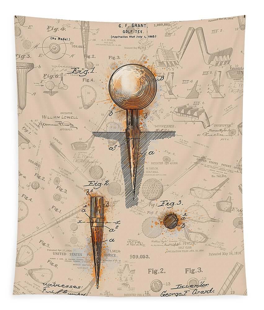 Golf Tapestry featuring the digital art Golf Tee Patent Drawing Sepia by Bekim Art