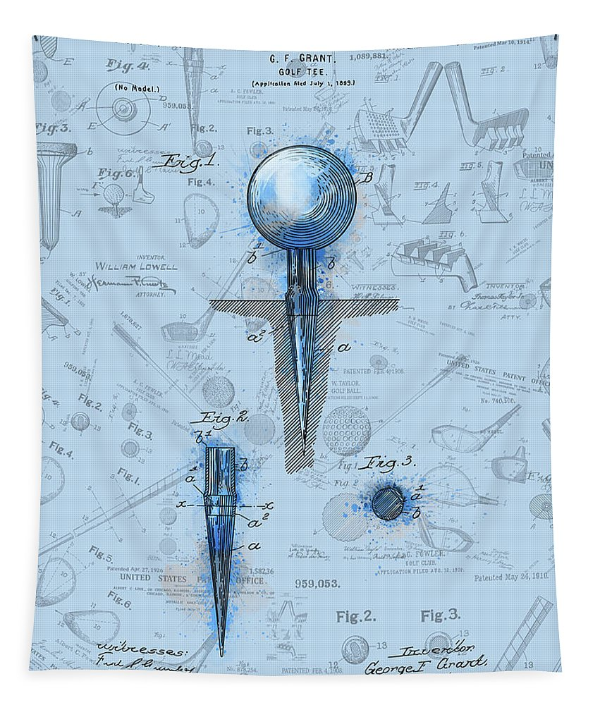Golf Tapestry featuring the digital art Golf Tee Patent Drawing Watercolor by Bekim Art