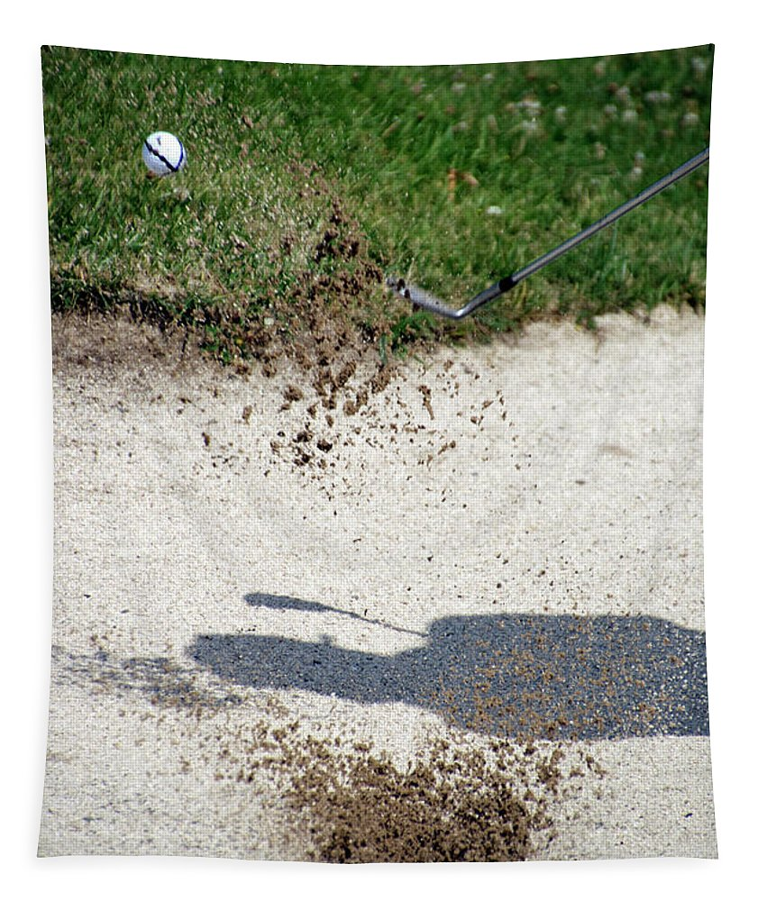 New York Tapestry featuring the photograph Golfing Sand Trap The Ball In Flight 01 by Thomas Woolworth