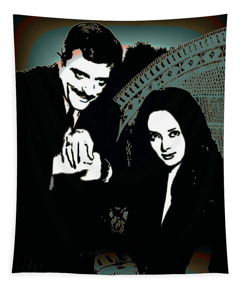 Morticia Tapestry featuring the digital art Gomez And Morticia Addams by Joy McKenzie