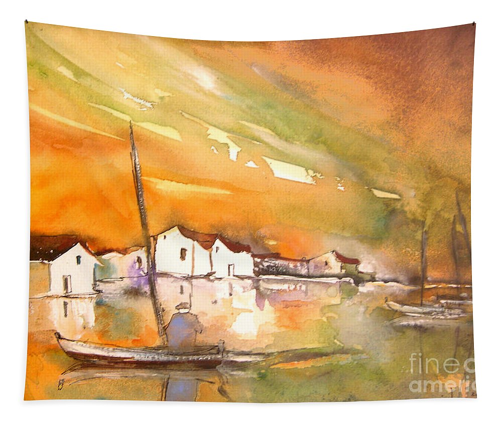 Tapestry featuring the painting Gone Fishing by Miki De Goodaboom