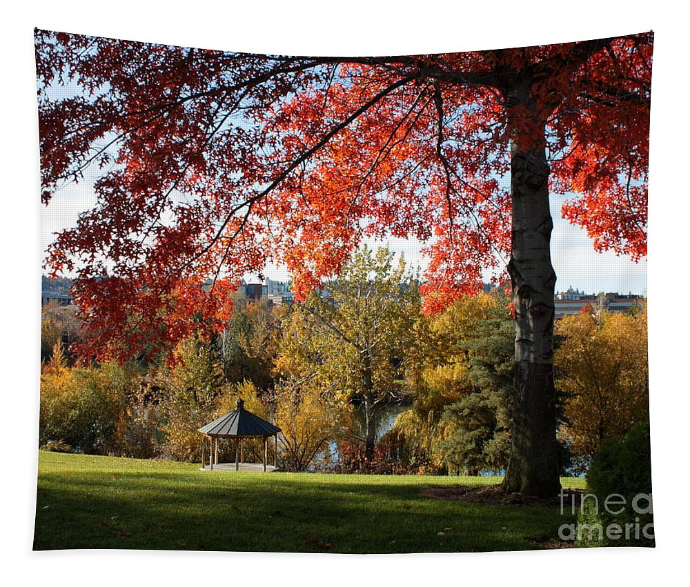 Spokane Tapestry featuring the photograph Gonzaga With Autumn Tree Canopy by Carol Groenen