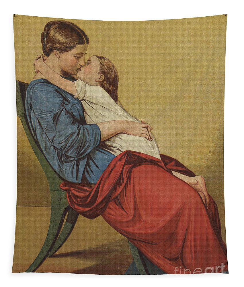 Kiss Tapestry featuring the drawing Good Night by Auguste Toulmouche