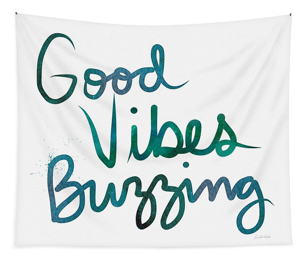 Good Vibes Tapestry featuring the painting Good Vibes Buzzing- Art By Linda Woods by Linda Woods