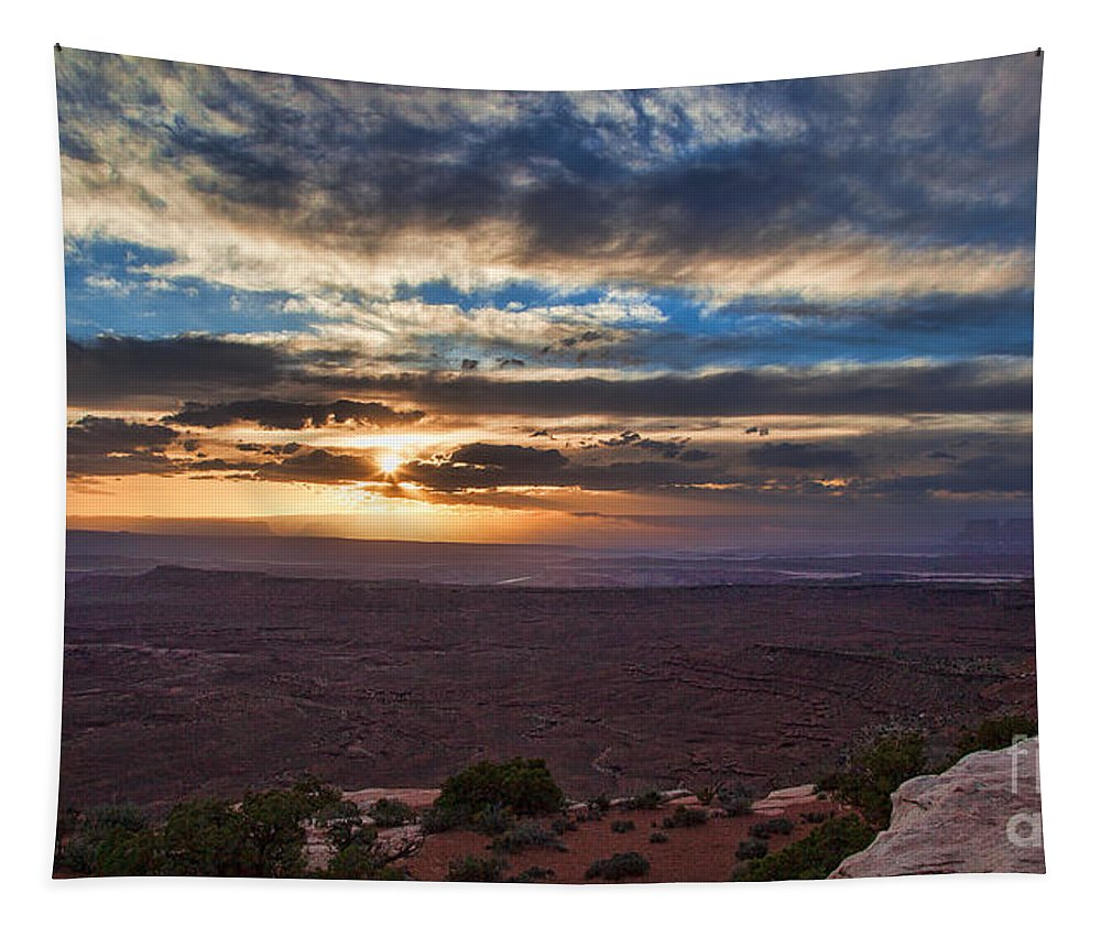 Utah Tapestry featuring the photograph The Long Wave Goodbye by Jim Garrison