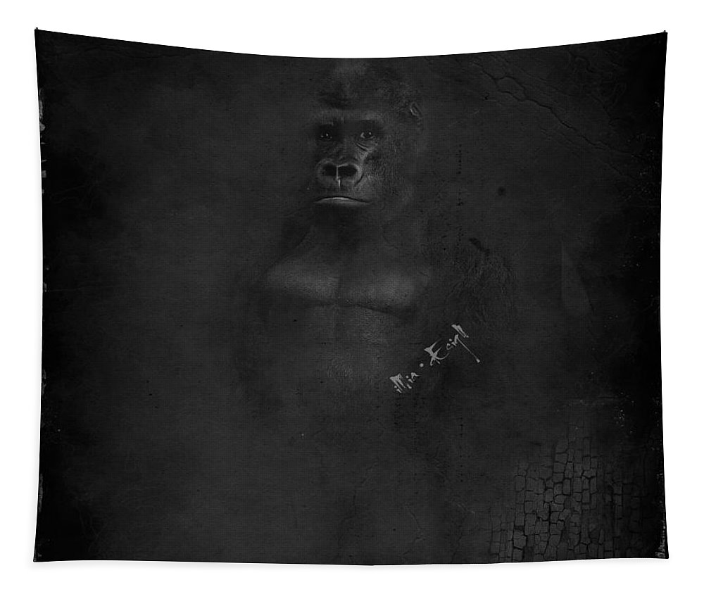Imia Design Tapestry featuring the digital art Gorilla by Maria Astedt