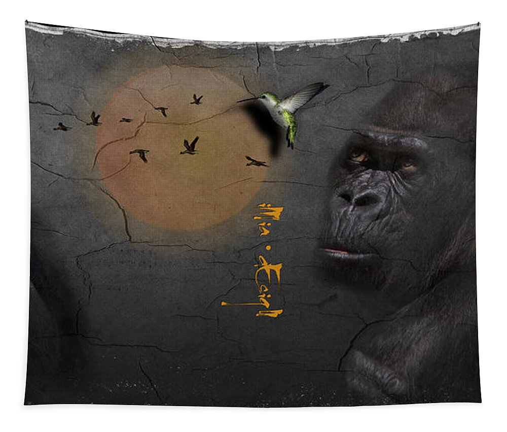 Imia Design Tapestry featuring the digital art Gorillas by Maria Astedt