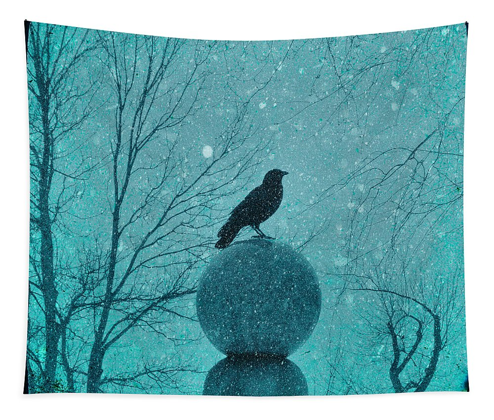 Snow Storm Tapestry featuring the photograph Goth Snow Globe by Gothicrow Images