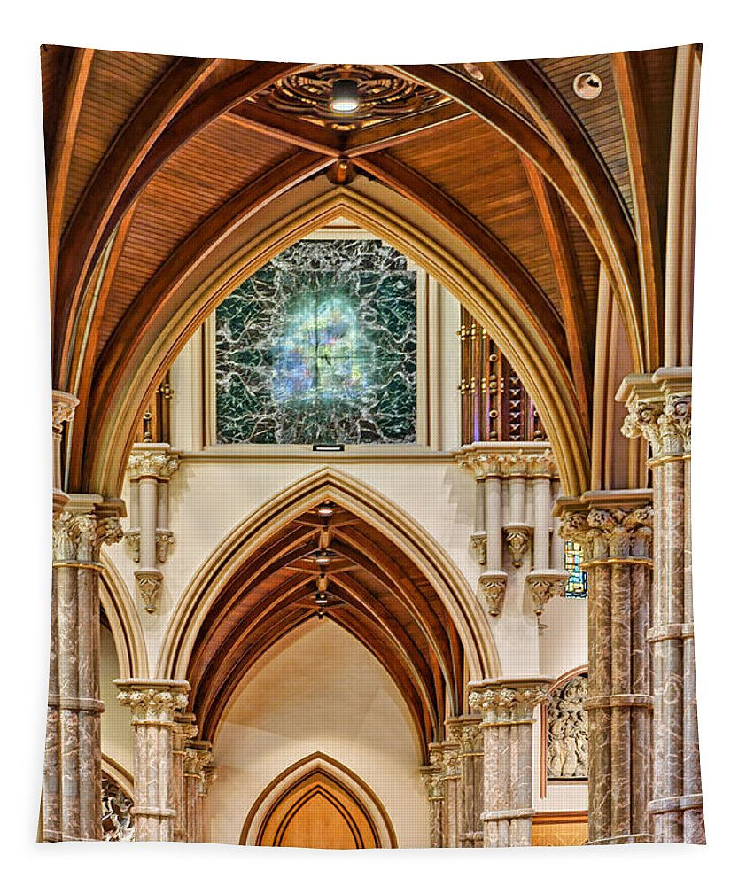 Holy Name Tapestry featuring the photograph Gothic Arches - Holy Name Cathedral - Chicago by Nikolyn McDonald