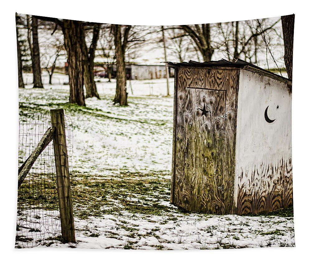 Outhouse Tapestry featuring the photograph Gotta Go by Heather Applegate