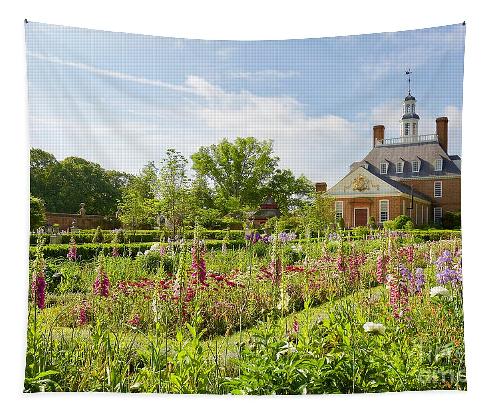 Colonial Williamsburg Tapestry featuring the photograph Governor's Ballroom Garden In The Spring by Rachel Morrison