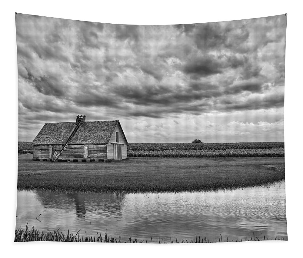 Barn Tapestry featuring the photograph Grain Barn And Sky - Reflection by Nikolyn McDonald