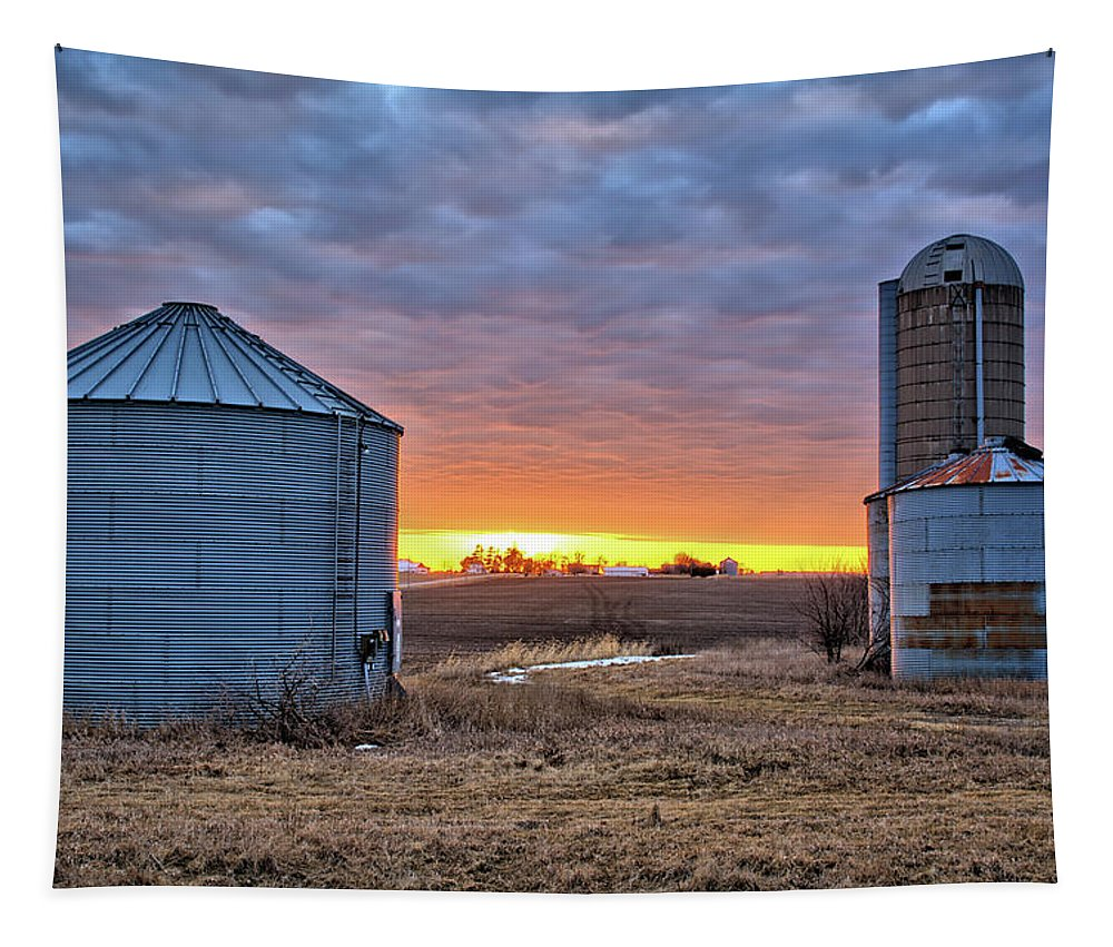 Farm Tapestry featuring the photograph Grain Bin Sunset 2 by Bonfire Photography