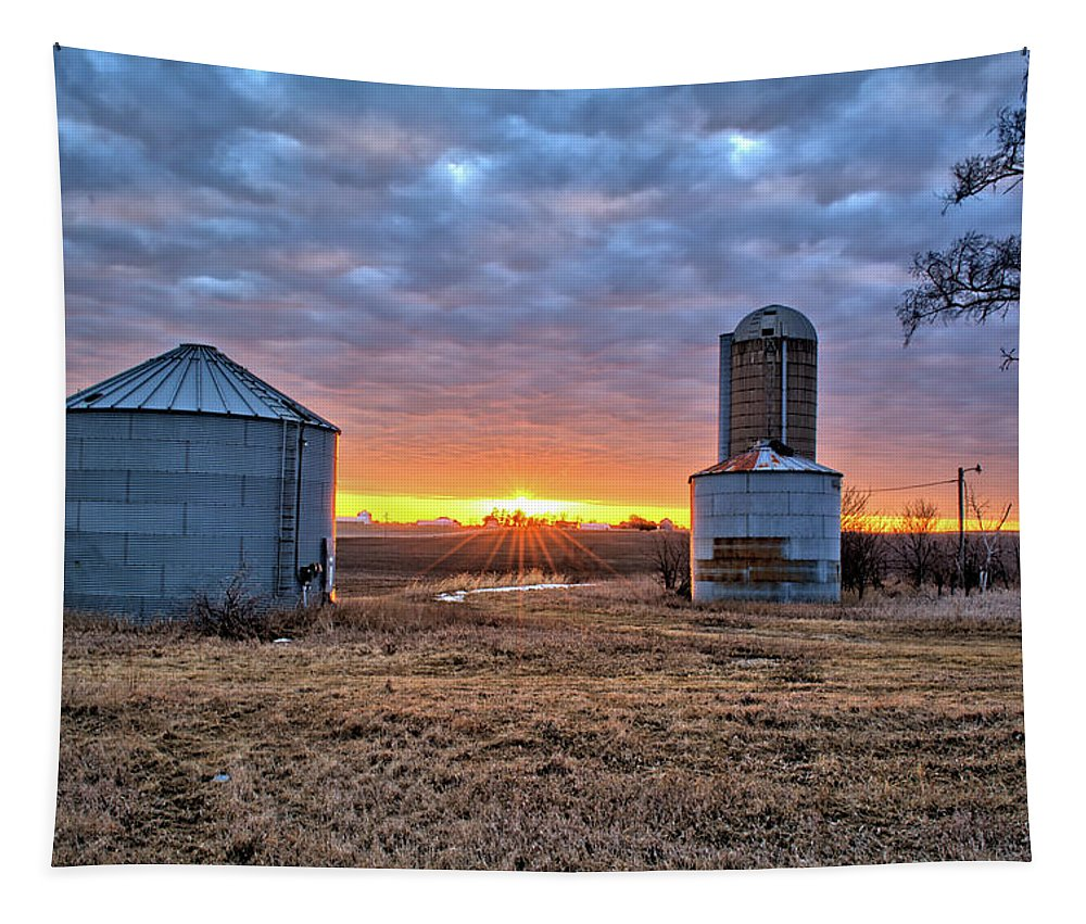 Farm Tapestry featuring the photograph Grain Bin Sunset by Bonfire Photography