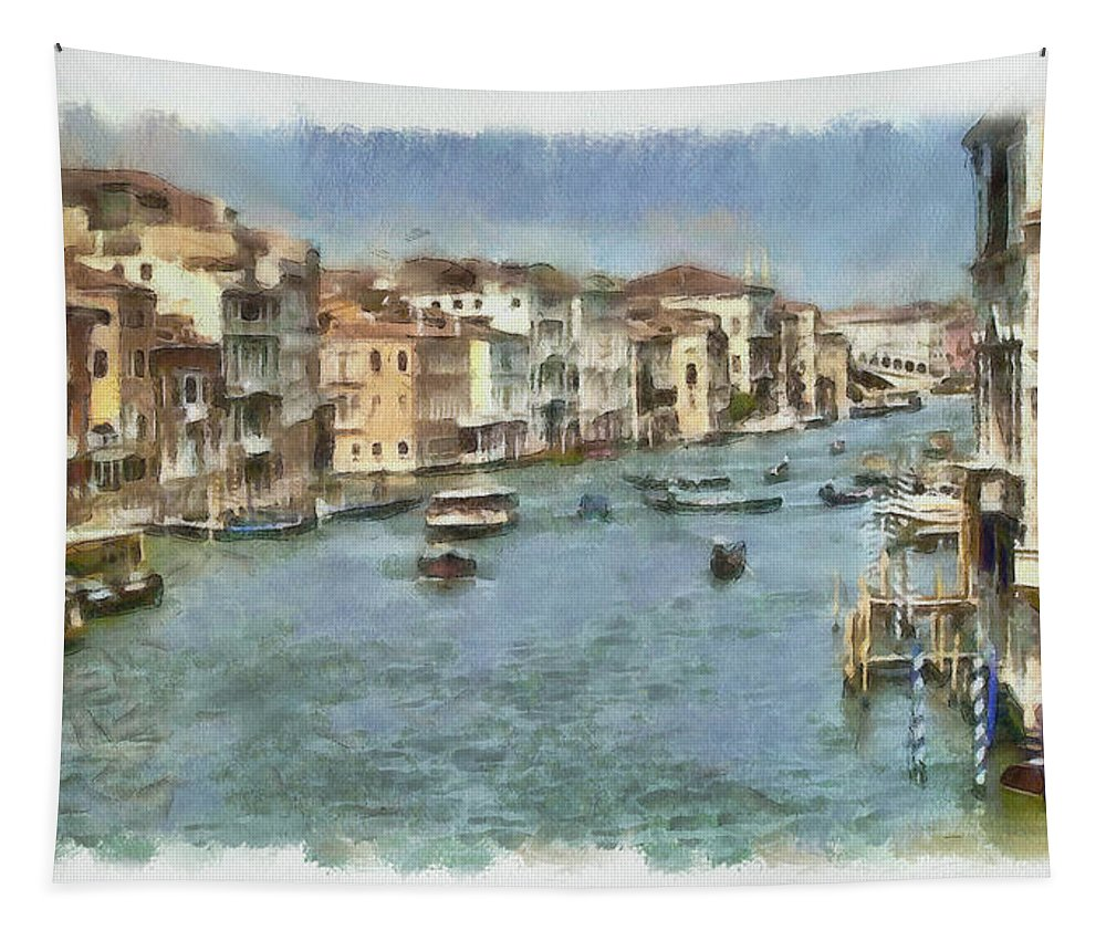 Grand Canal Tapestry featuring the painting Grand Canal In Venice by Sergey Lukashin