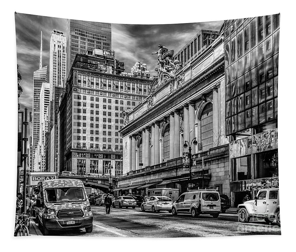 City Tapestry featuring the photograph Grand Central At 42nd St - Mono by Nick Zelinsky