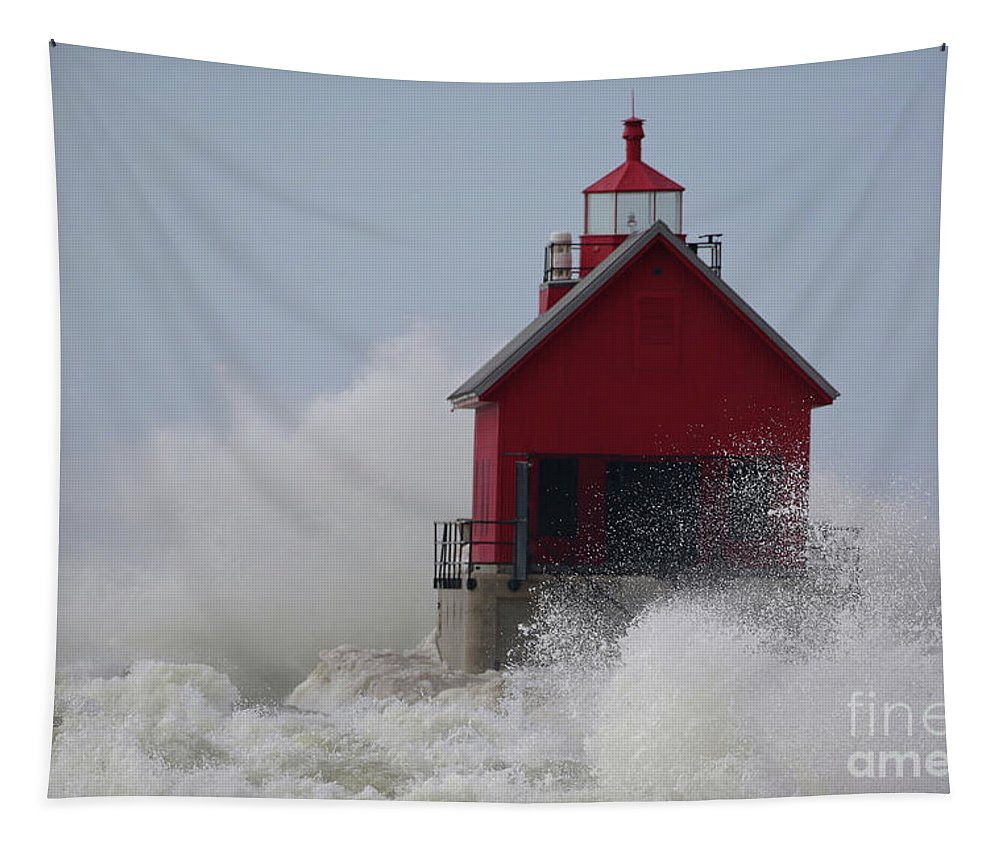 Grand Haven Tapestry featuring the photograph Grand Haven Lighthouse by Genna Card