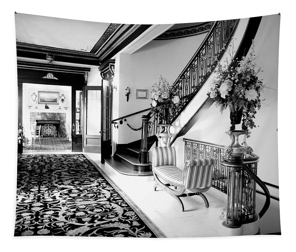 Grand-island-mansion Tapestry featuring the photograph Grand Island Mansion Mosher Ranch 7 B And W by Joyce Dickens