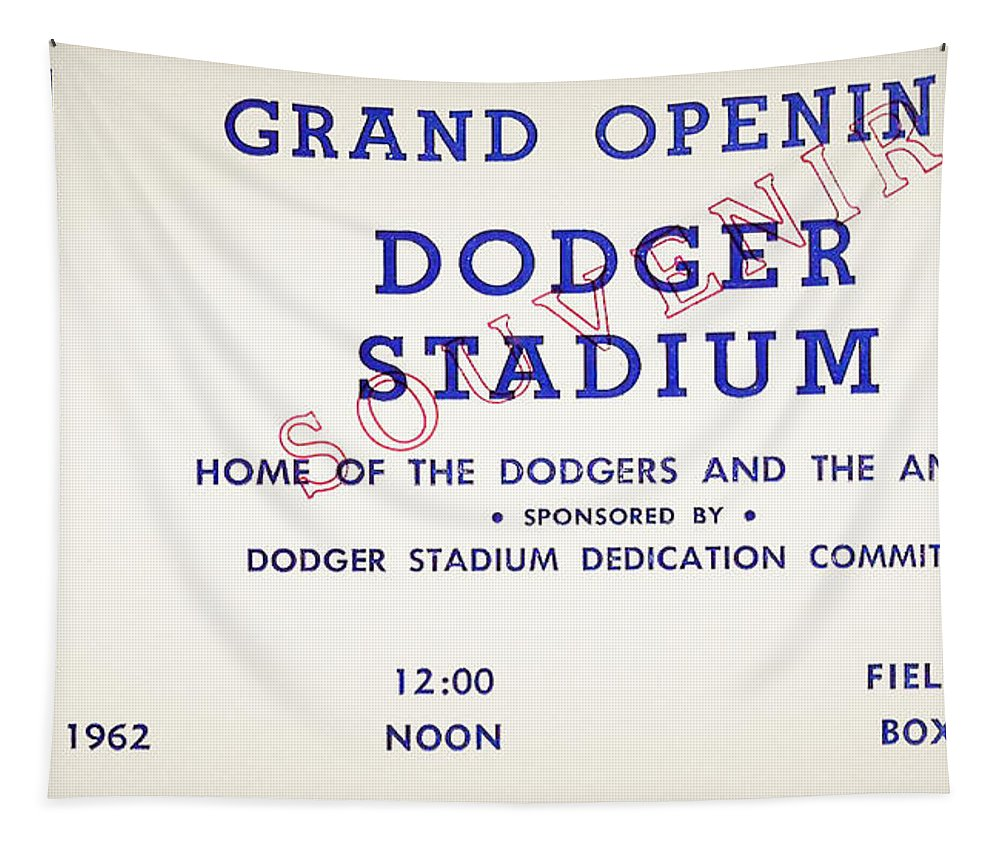 Grand Tapestry featuring the photograph Grand Opening Dodger Stadium Ticket Stub 1962 by Bill Cannon