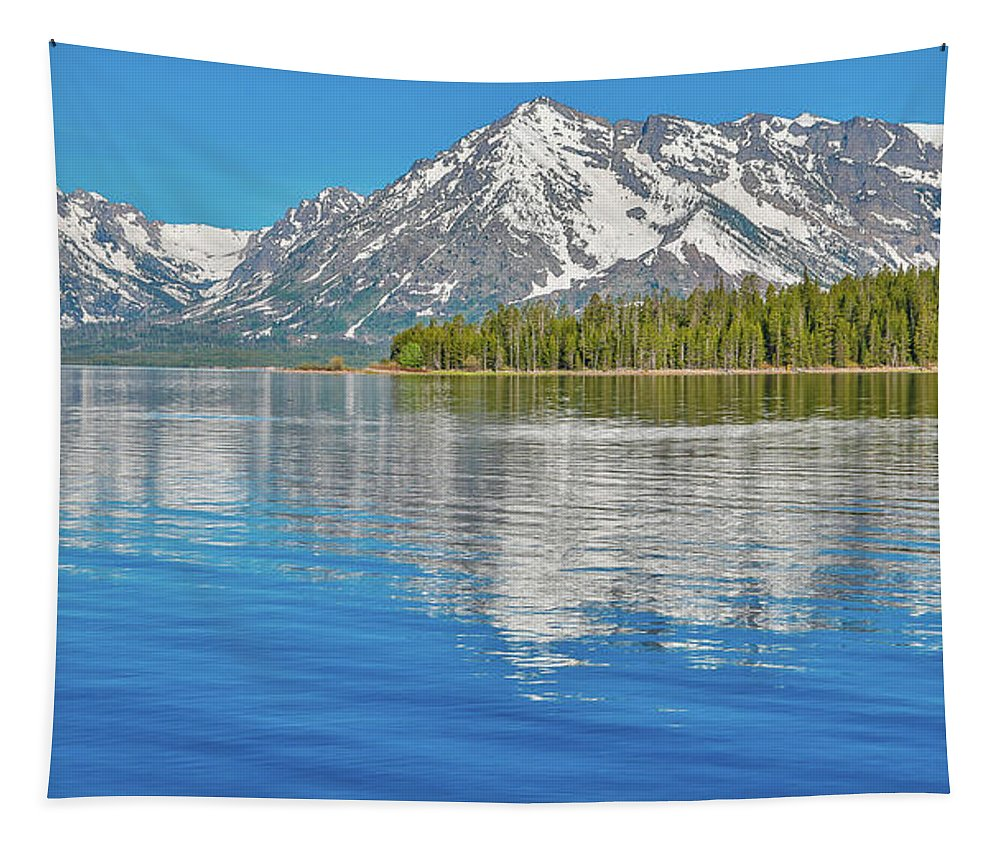 Grand Teton Reflection Tapestry featuring the photograph Grand Teton Mountain Reflection On Jackson Lake by Dan Sproul