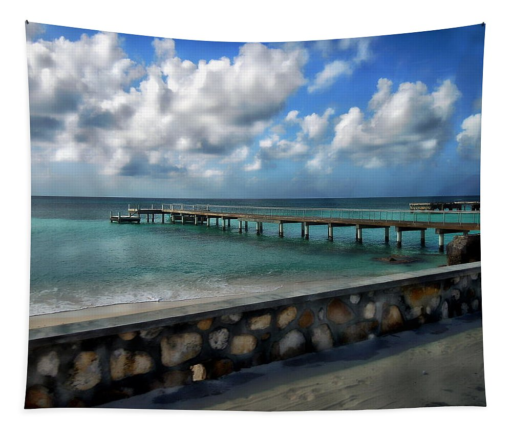 Eleuthra Tapestry featuring the photograph Grand Turk Pier by Anthony Dezenzio