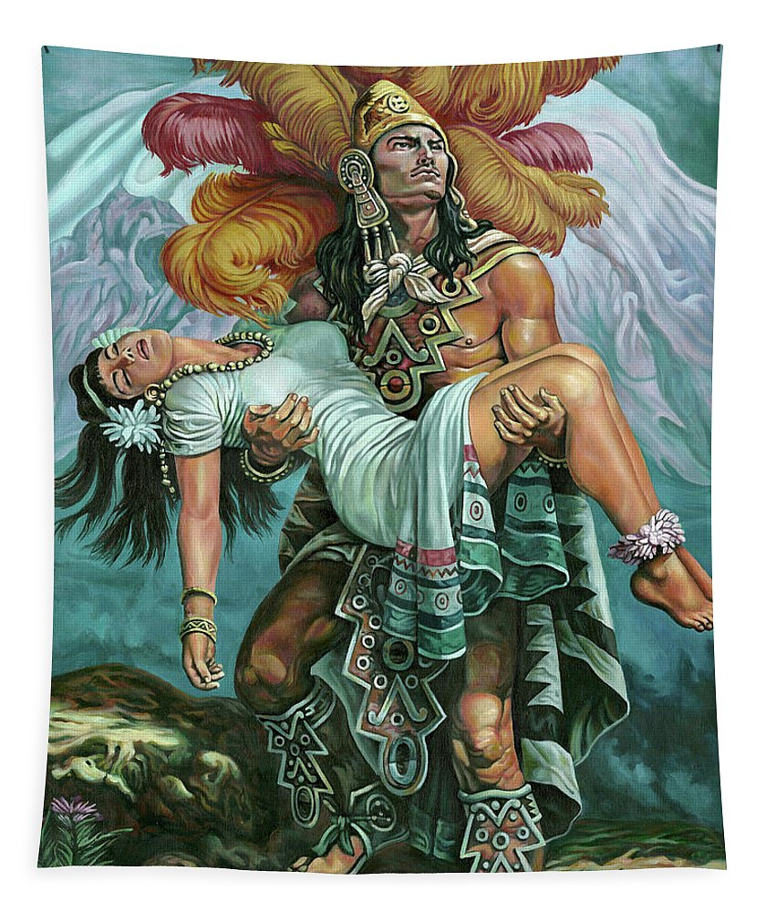Indian Tapestry featuring the painting Grandeza Azteca by Daniel Ayala