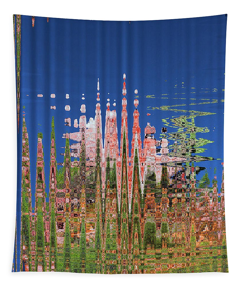 Granite And Sagurao Abstract Tapestry featuring the digital art Granite And Sagurao Abstract by Tom Janca