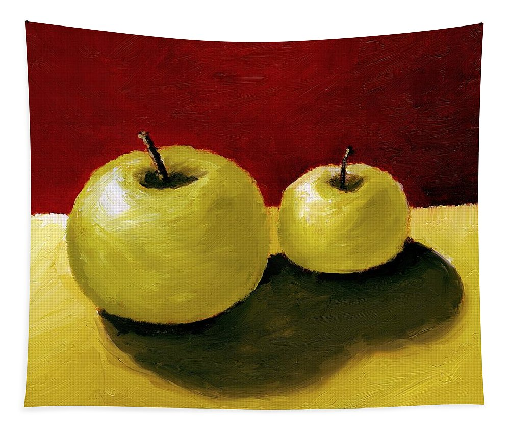 Apple Tapestry featuring the painting Granny Smith Apples by Michelle Calkins