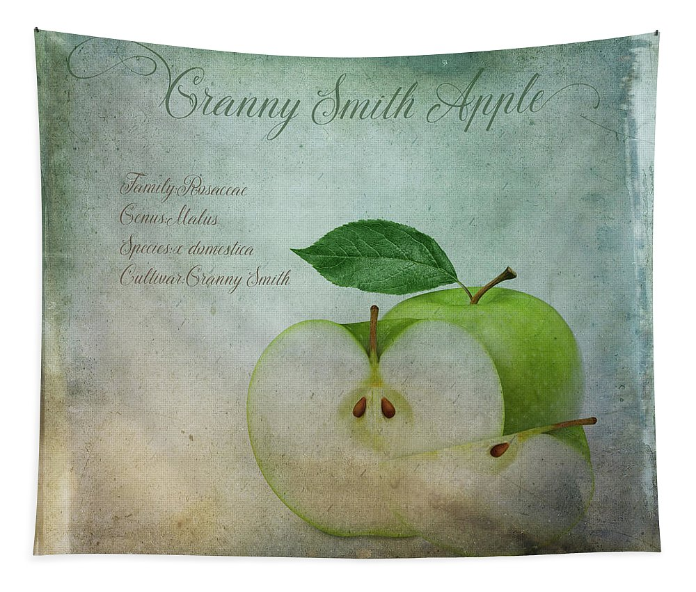 Green Tapestry featuring the digital art Granny Smith by Terry Davis