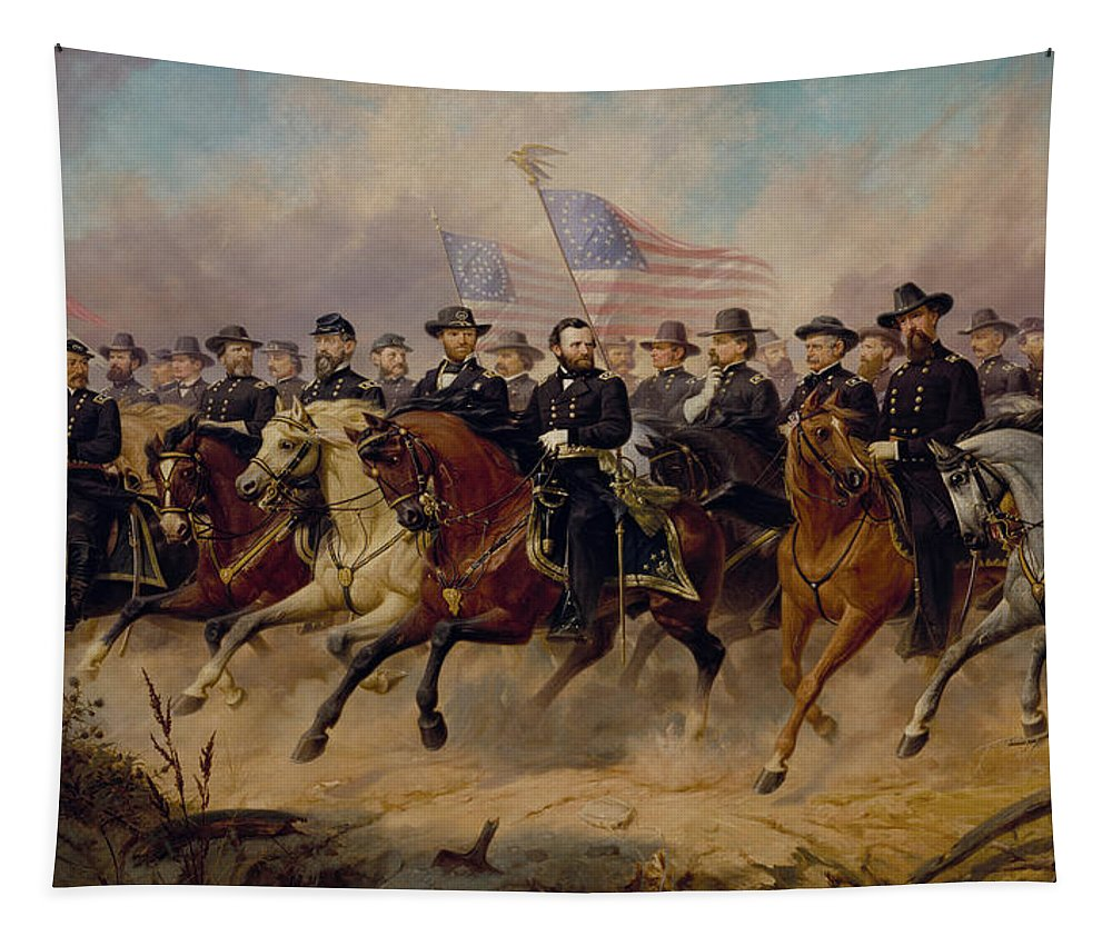 Grant Tapestry featuring the painting Grant And His Generals by War Is Hell Store