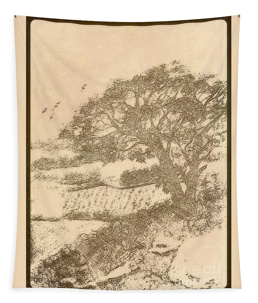 Pencil Tapestry featuring the drawing Grape Arbor On Brown by Debra Lynch