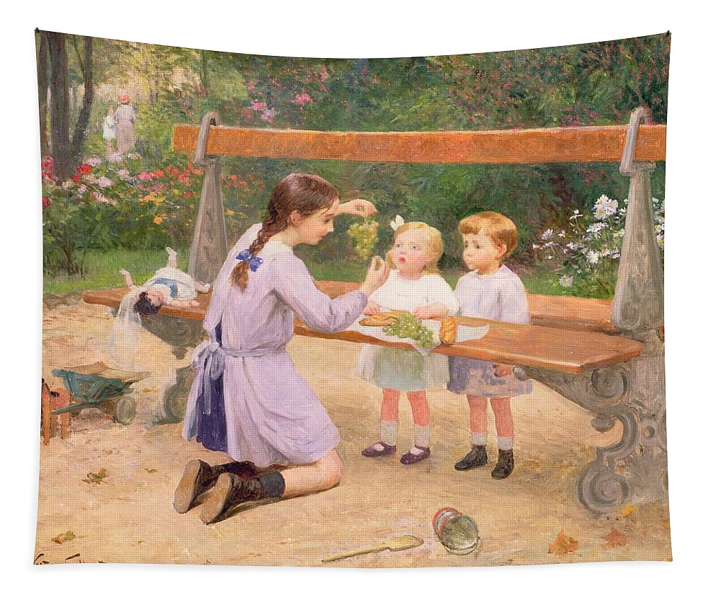 Grape Tapestry featuring the painting Grape Tasting by Victor Gabriel Gilbert