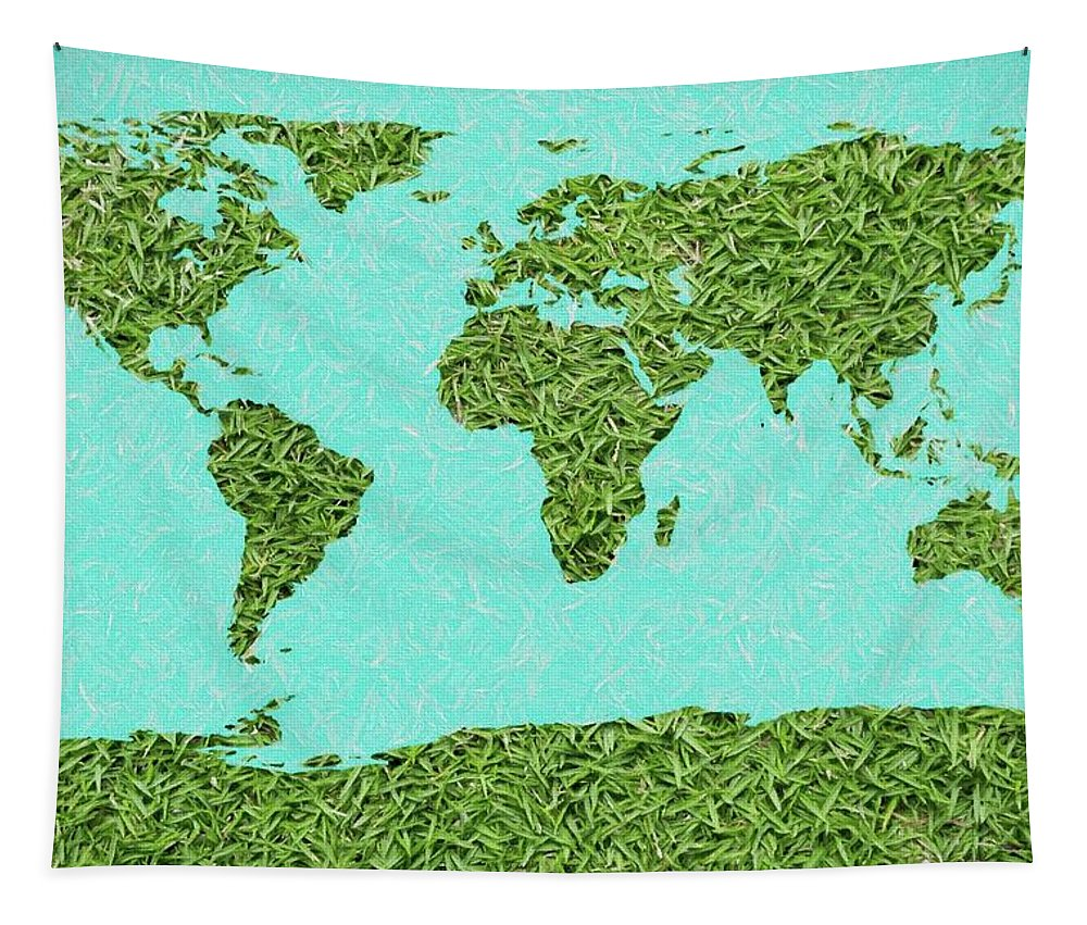Grass World Map Tapestry featuring the digital art Grass World Map by Dan Sproul