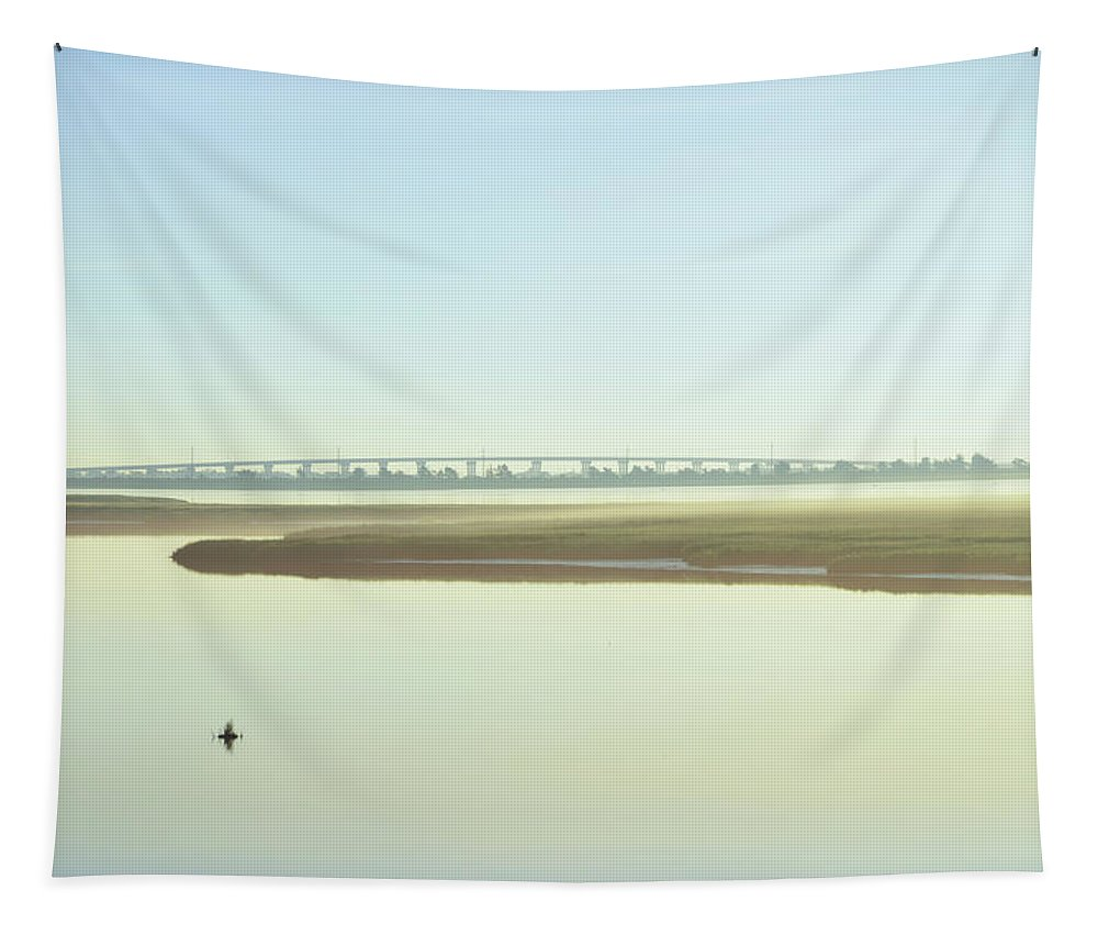 Grassy Tapestry featuring the photograph Grassy Sound Bridge North Wildwood New Jersey by Bill Cannon