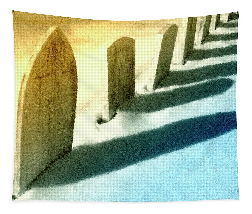 Old Graves Tapestry featuring the mixed media Gravestones In Winter by Dominic Piperata