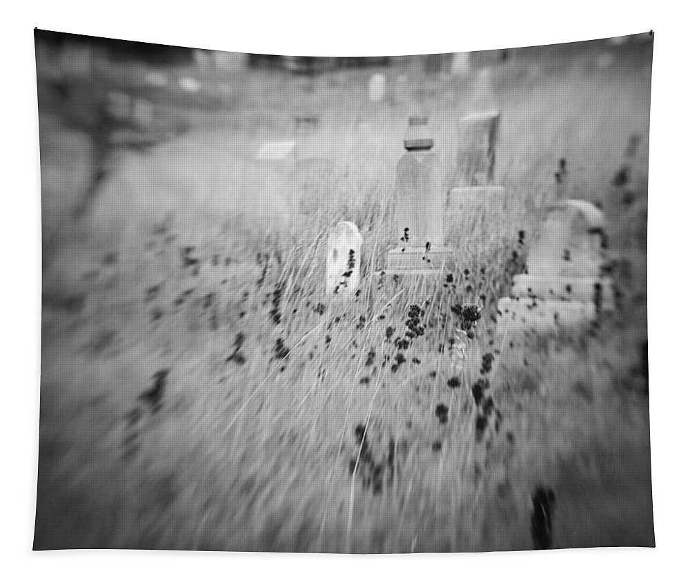 B&w Tapestry featuring the photograph Graveyard 6793 by Timothy Bischoff