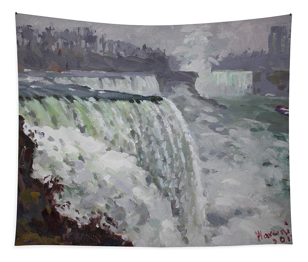 Gray Day Tapestry featuring the painting Gray And Cold At American Falls by Ylli Haruni