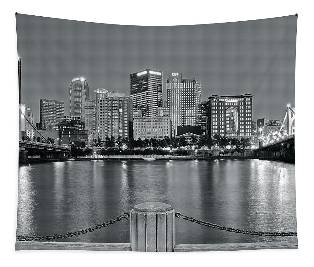 Pittsburgh Tapestry featuring the photograph Grayscale By The River 2017 by Frozen in Time Fine Art Photography