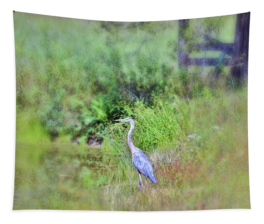 Great Blue Heron Tapestry featuring the photograph Great Blue Heron Visitor by Kerri Farley